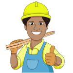 Carpenter Wearing Hard Hat Carries Wood Planks